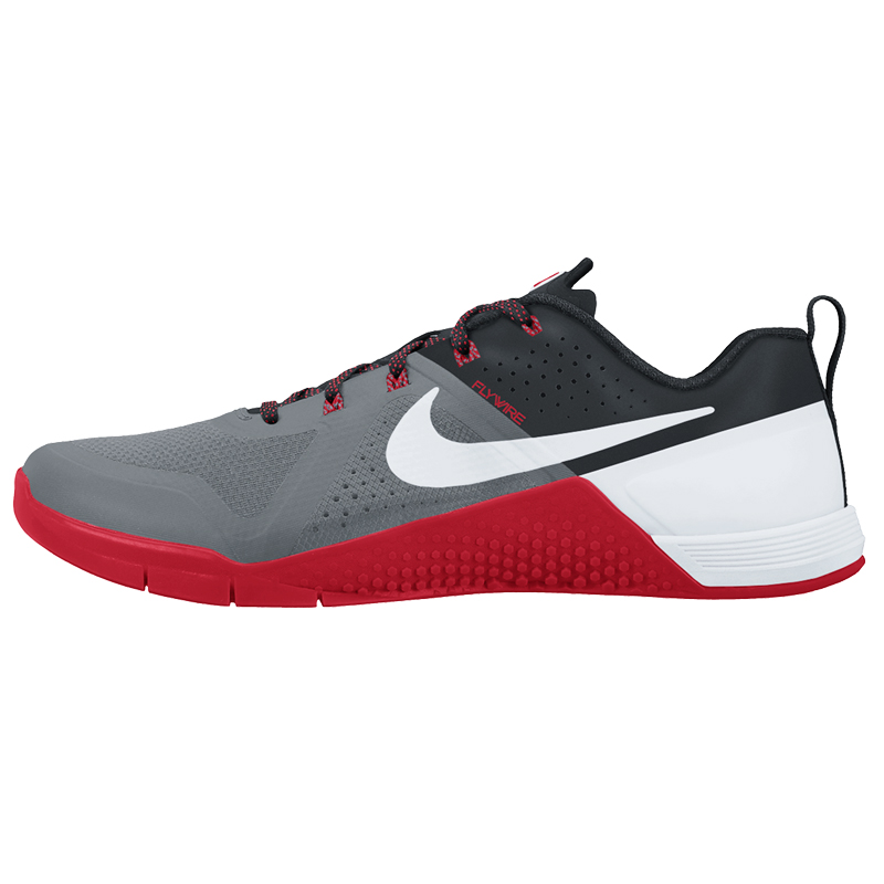 Nike metcon cool grey black university red and