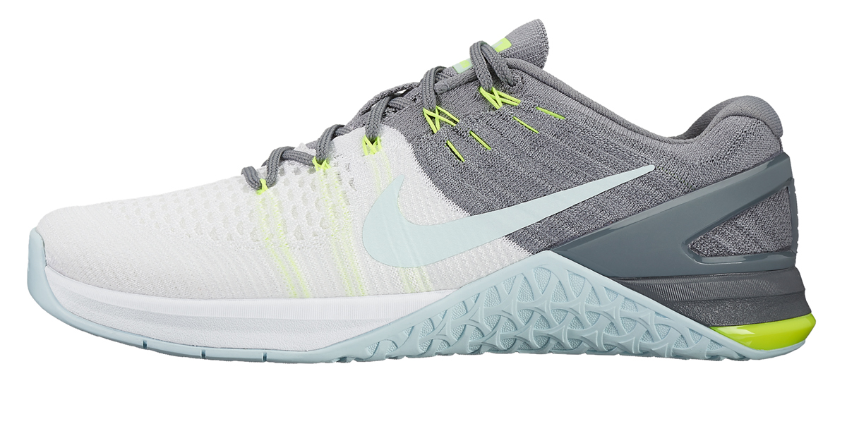 Nike Metcon 3 Flyknit - White / Glacier Blue / Cool Grey / Volt | Rogue  Fitness