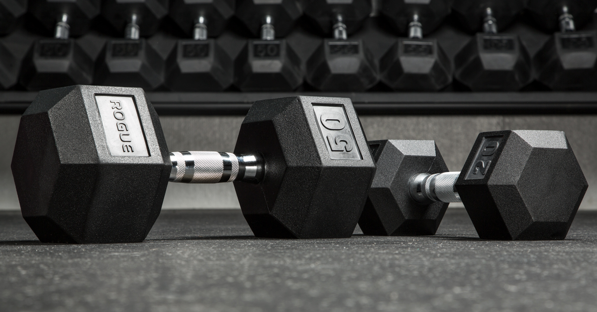 Rogue Dumbbells - Weight Training - Rubber Hex | Rogue Fitness