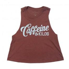 Caffeine & Kilos Script Racerback Crop Tank