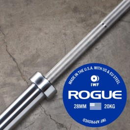 Rogue 28MM IWF OLY Bar w/ Center Knurl - Bright Zinc