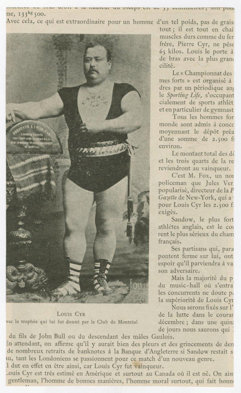 Louis Cyr portrait with trophy