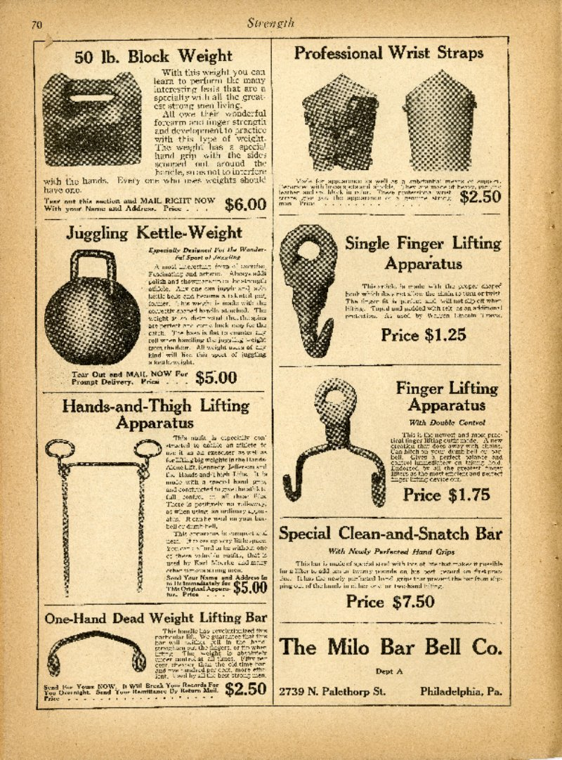 Ads for various Milo Bar-Bell Company Products