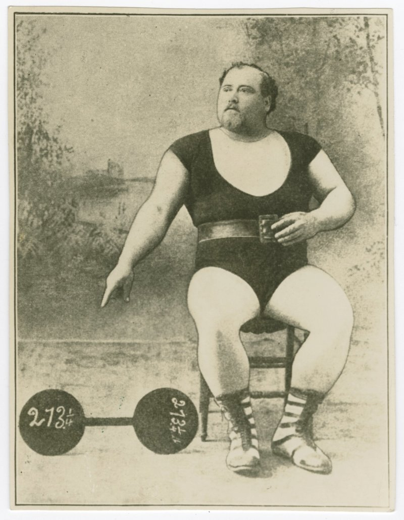 Louis Cyr portrait with dumbell
