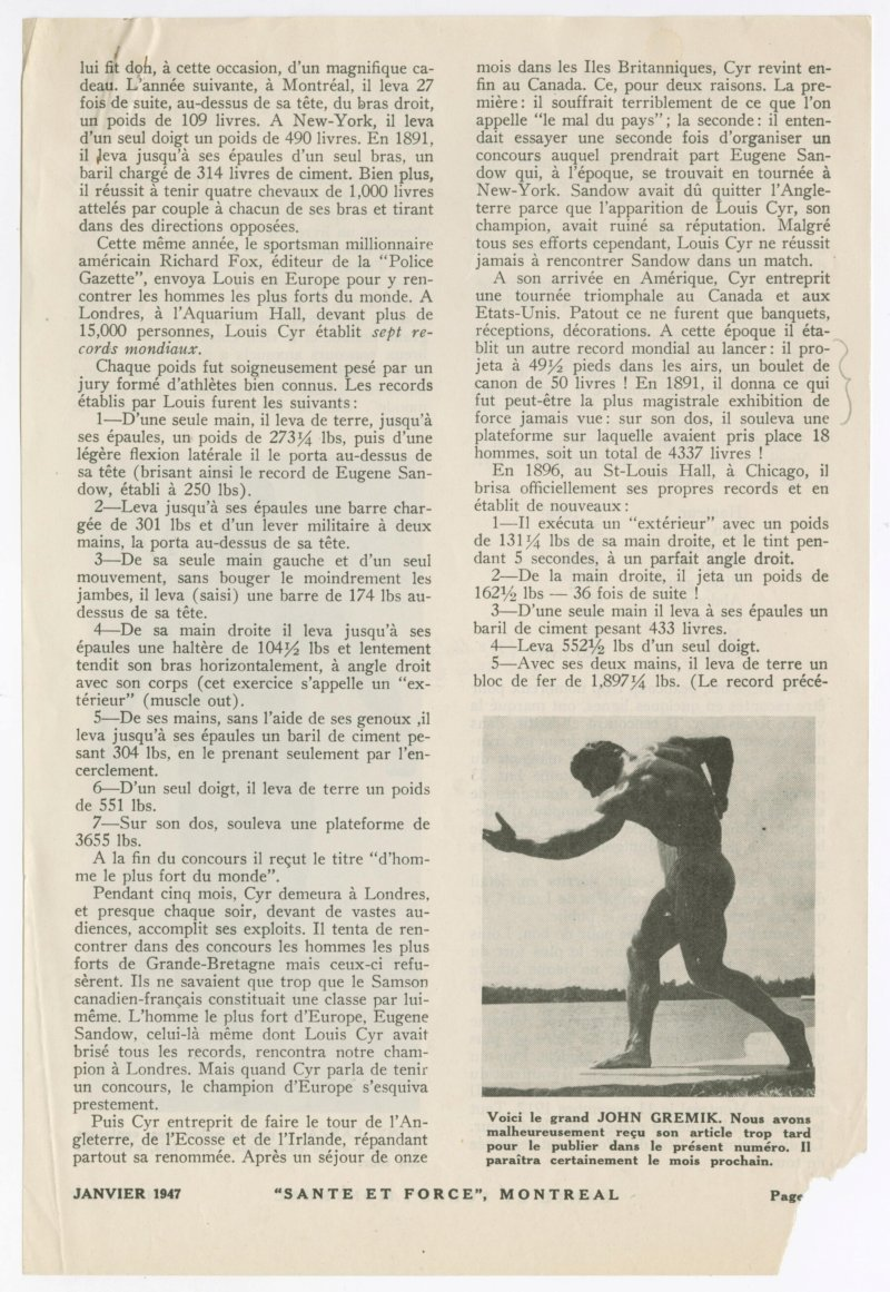 Louis Cyr article continued