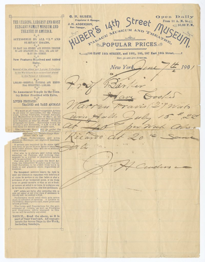 Letter from Huber's 14th Street Museum