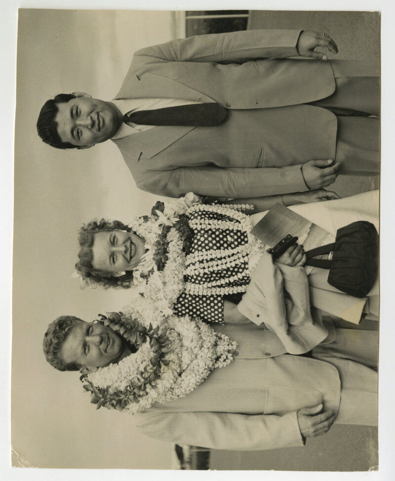 Pudgy, Les and Henry Koizumi in Hawaii