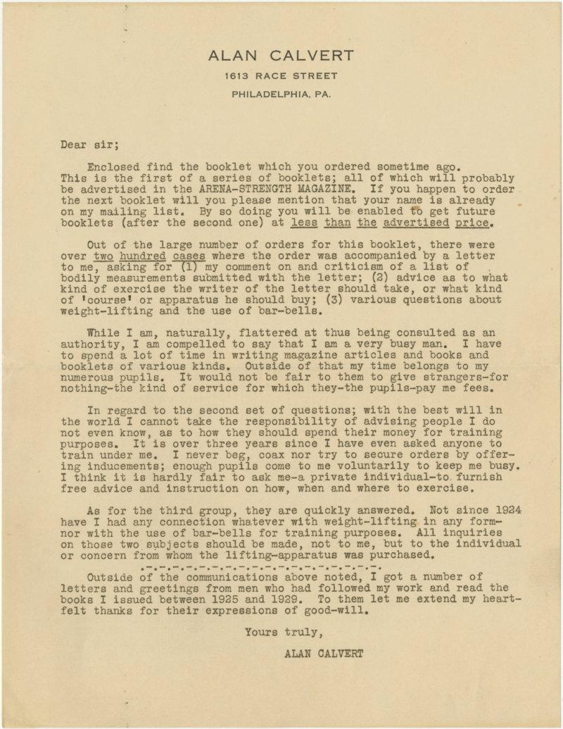 Correspondence from Alan Calvert