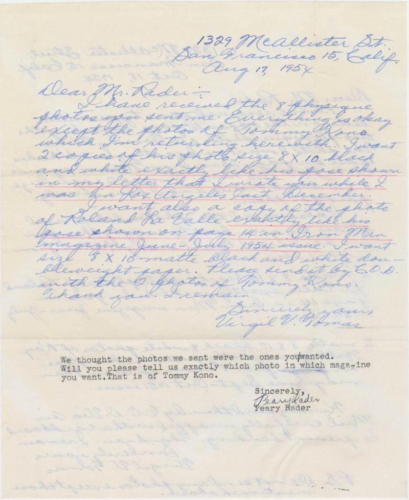 Letter from Virgil Tomas to Peary Rader continued