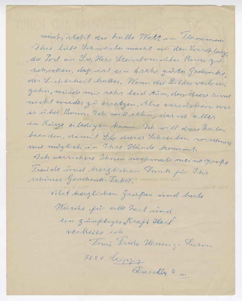 Frida Hennig letter to Milo Steinborn back
