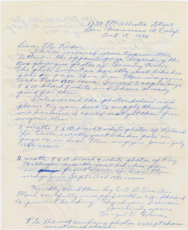 Letter from Virgil Tomas to Peary Rader