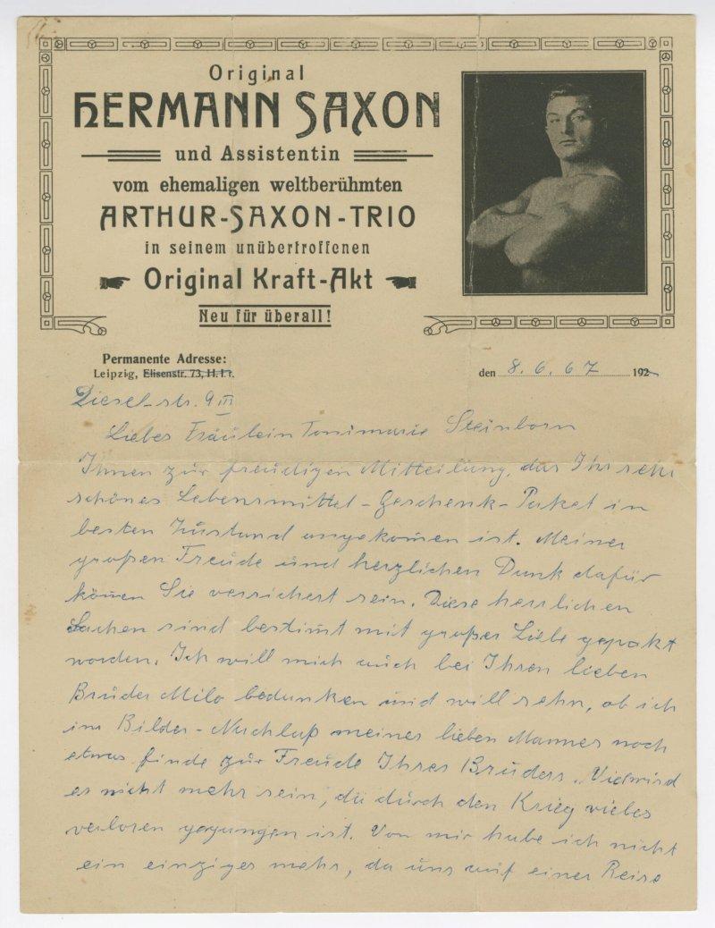 Frida Hennig letter to Tonimarie Steinborn
