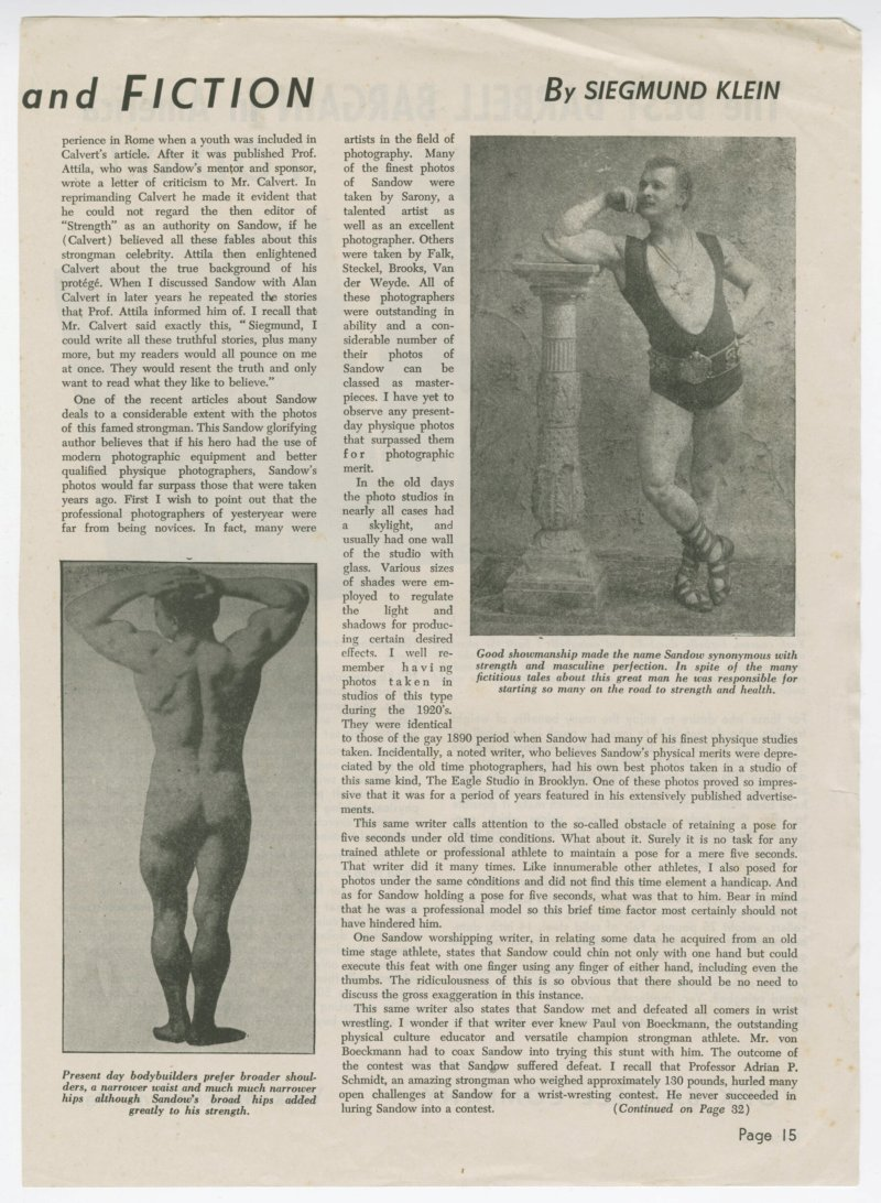 Sandow--Truth and Fiction continued