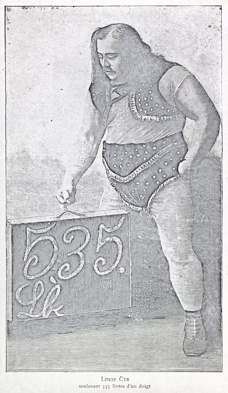 Louis Cyr lifting 535 pounds with one finger