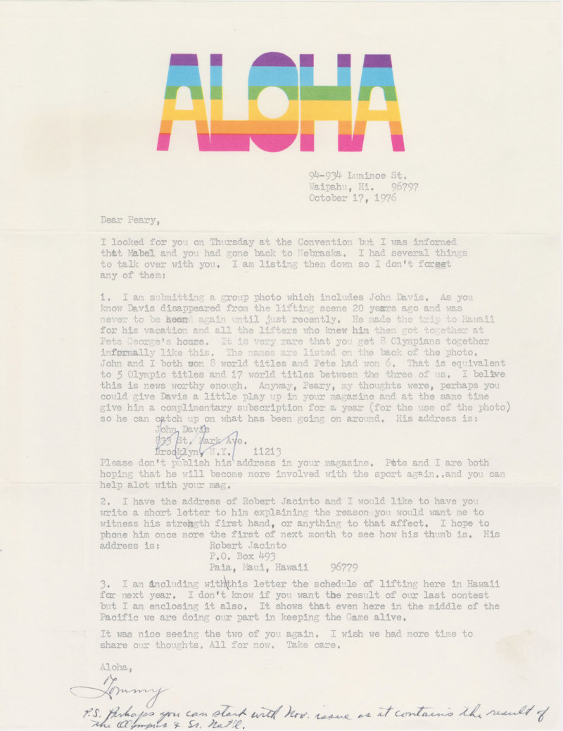 Letter from Tommy Kono to Peary Rader