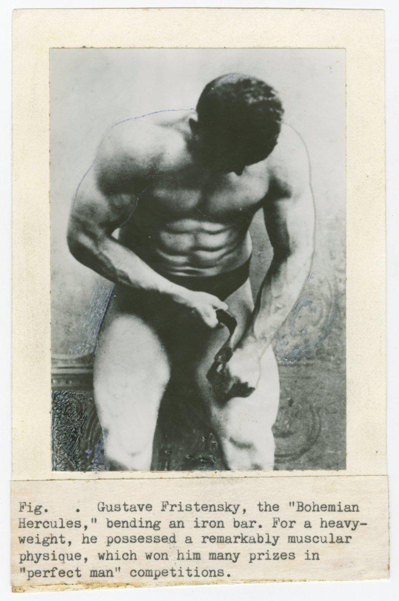 Gustav Fristensky, the Bohemian Hercules, bending an iron bar