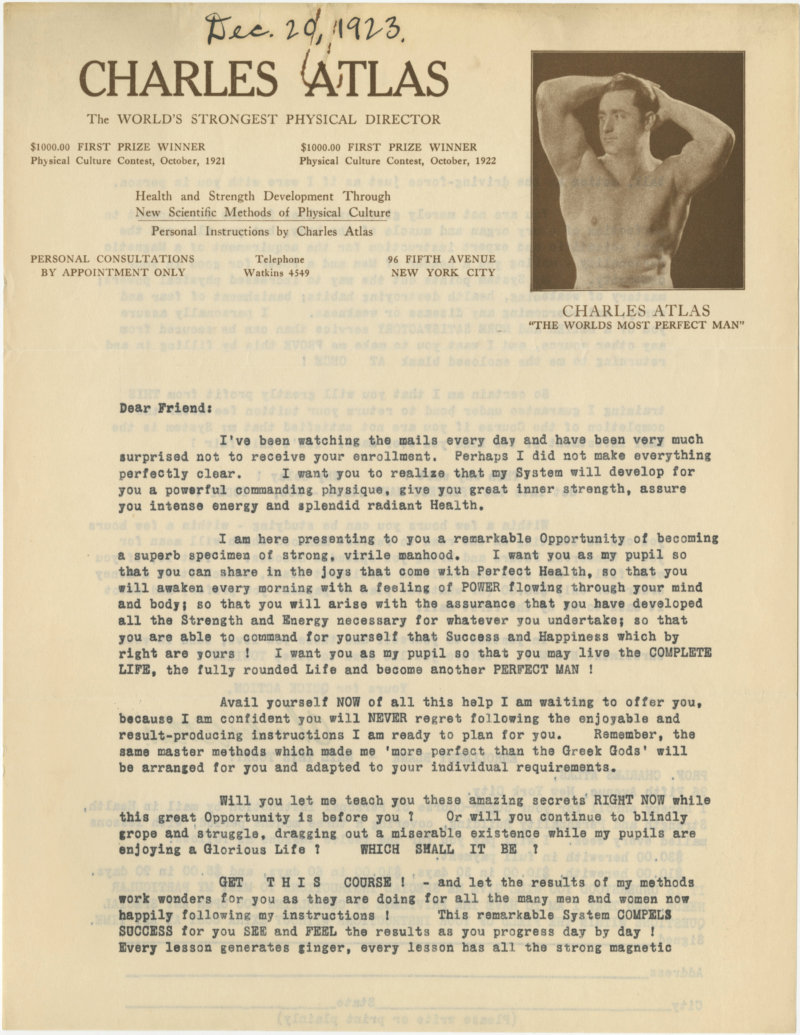Charles Atlas The World's Strongest Physical Director correspondence