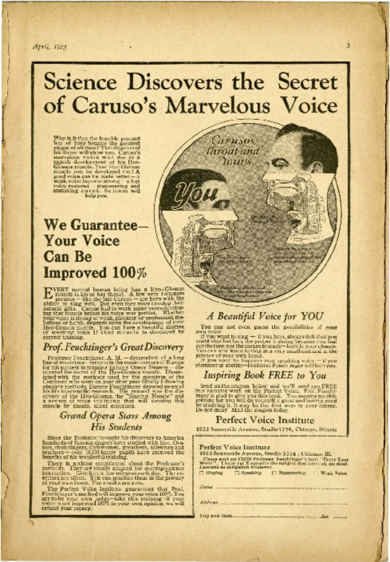 Science Discovers the Secret to Caruso's Marvelous Voice; Only $2.00 for this Complete Boxing Course; Once a Weakling; What Too Many Brides Learn Too Late; etc.