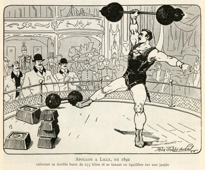 Apollon in Lille in 1892, lifting a 155-kilogram barbell while standing on one leg