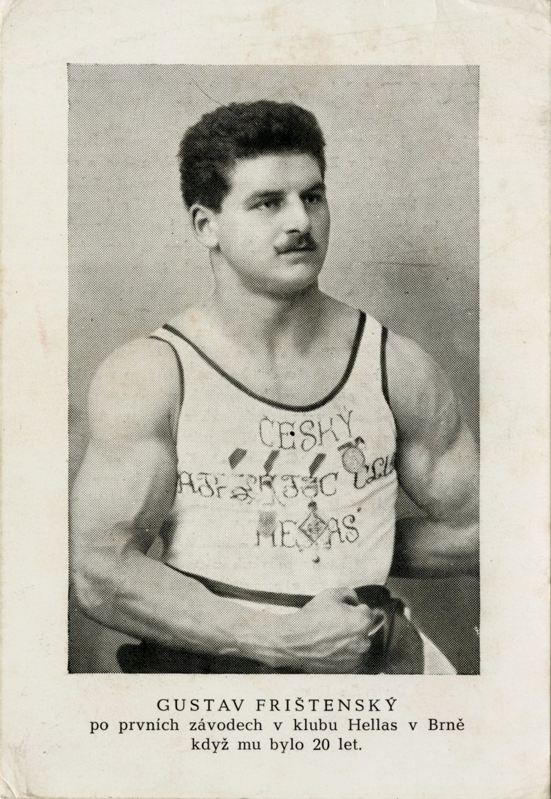 Gustav Fristensky after the first race at the Hellas club in Brno when he was 20 years old