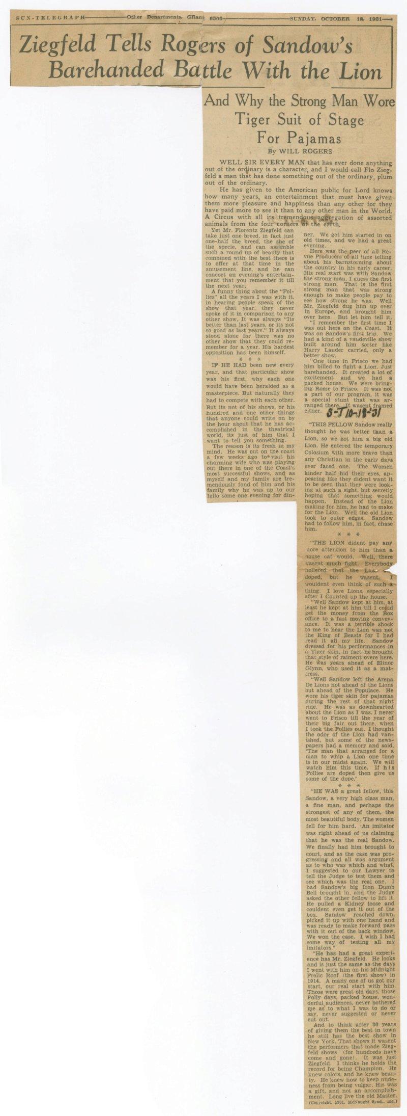 Ziegfeld Tells Rogers of Sandow's Barehanded Battle with the Lion
