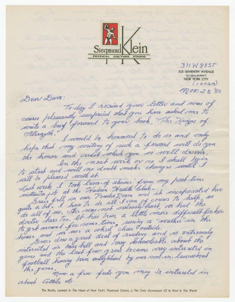 Letter from Siegmund Klein