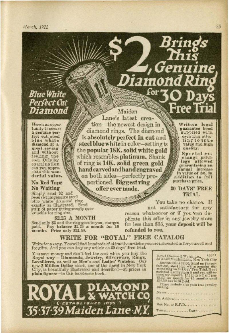 $2 Brings This Genuine Diamond Ring