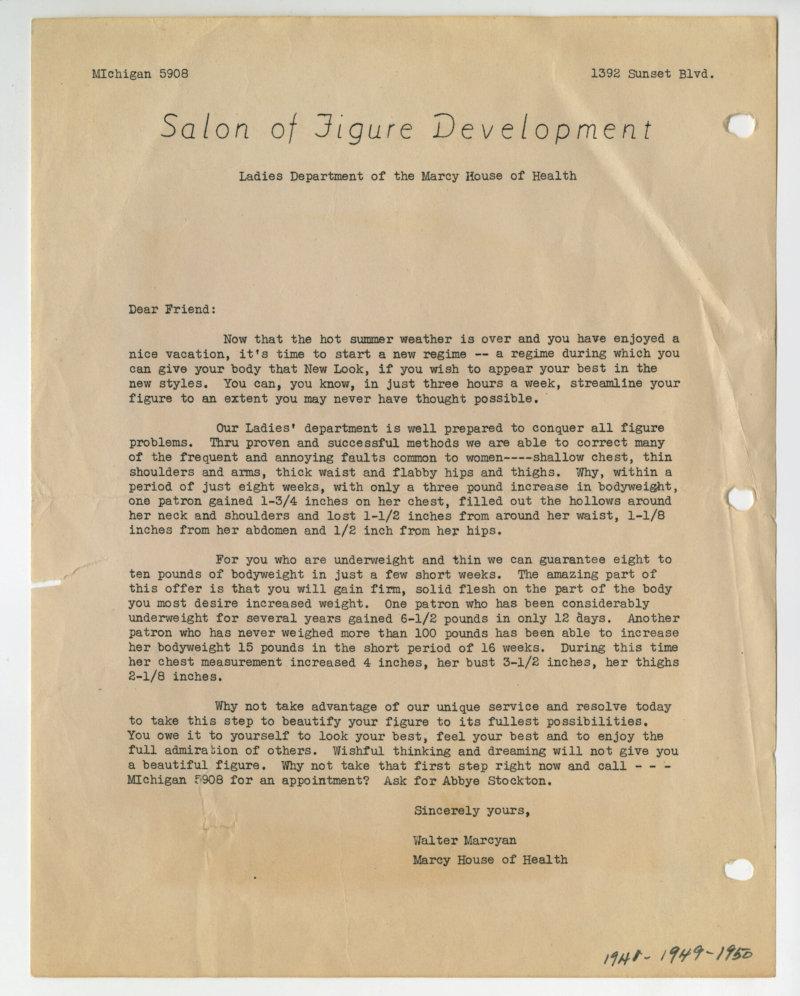 Salon of Figure Development mailer letter