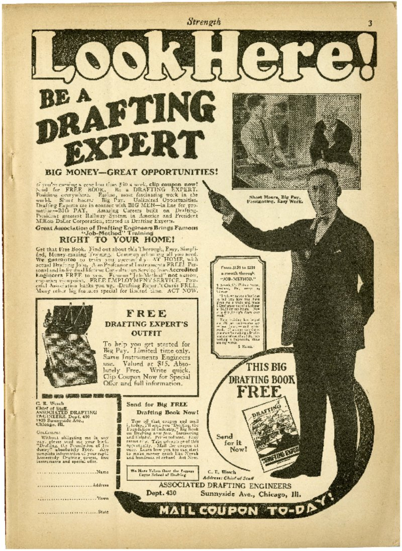 Look Here! Be A Drafting Expert; Amazing 5 Minute Test Proves; Be A B.W. Cooke Trained Auto Expert; etc.
