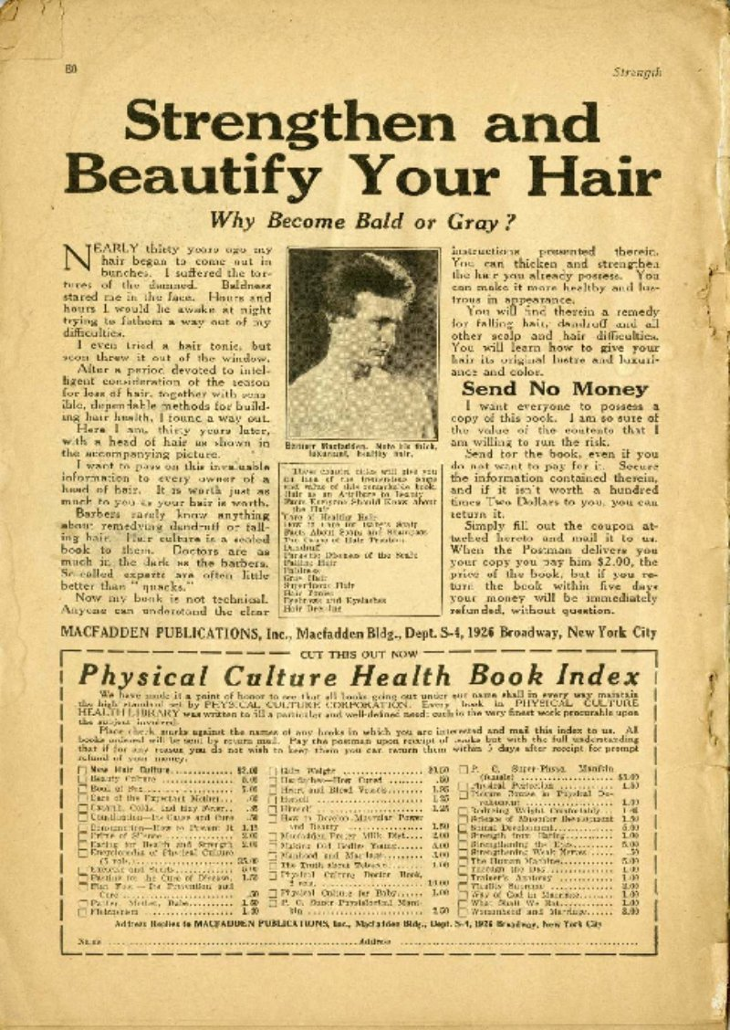 Strengthen and Beautify Your Hair; From Beginner to Expert in Nine Lessons; Hackenschmidt's Wrestling Course for $2.00
