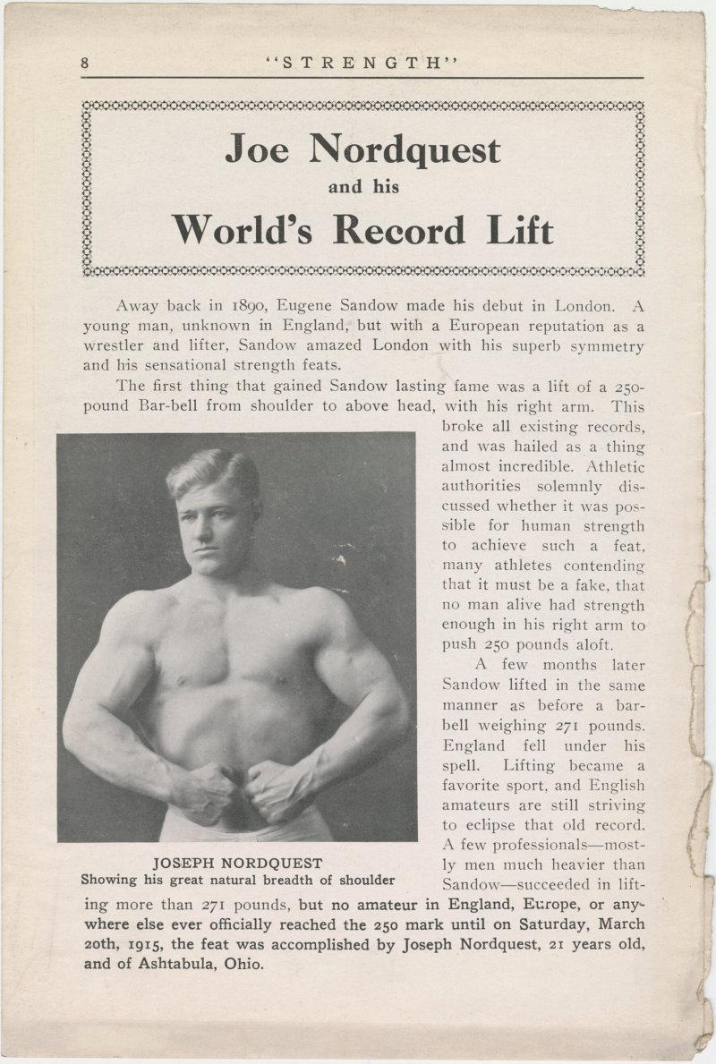 Joseph Nordquest and his World's Record Lift