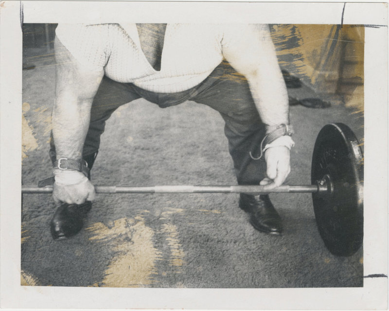 Photo of Paul Anderson about to perform a lift