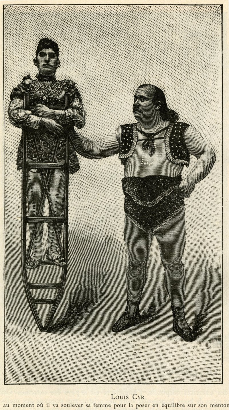 Louis Cyr just before balancing his wife on his chin