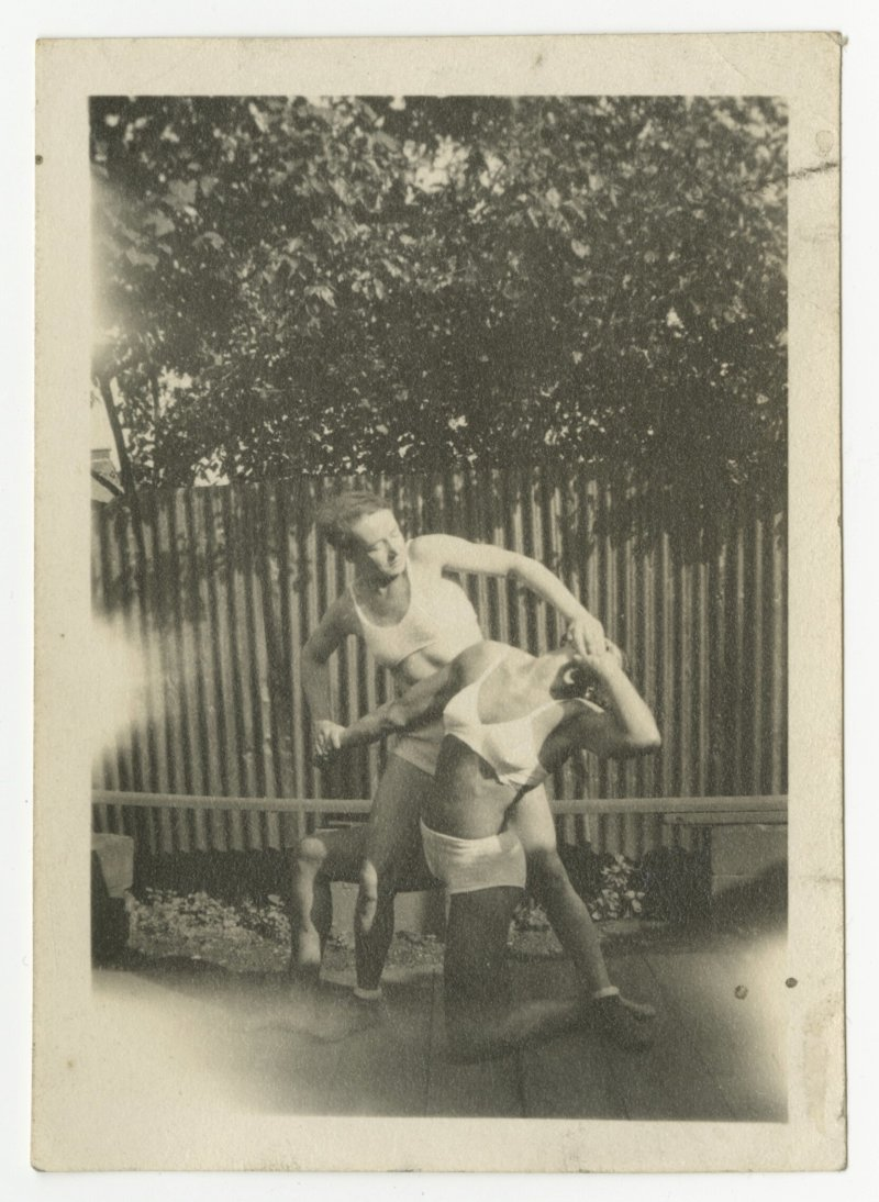 Ivy Russell grappling with Agnes Clark