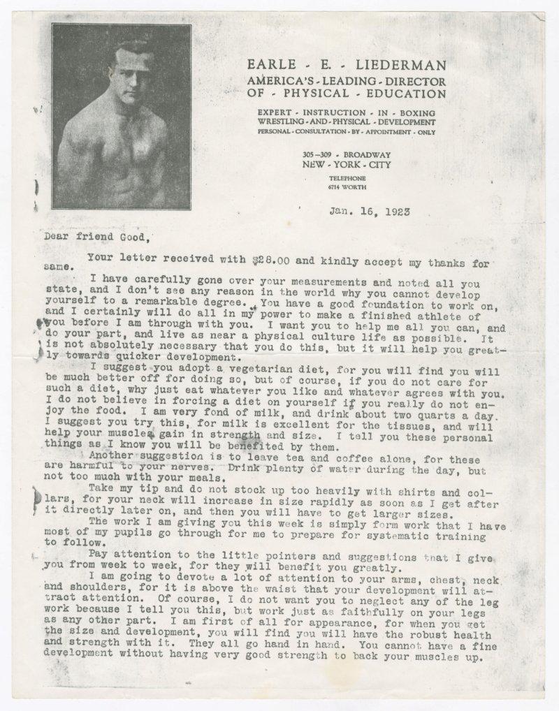 Earle Liederman letter