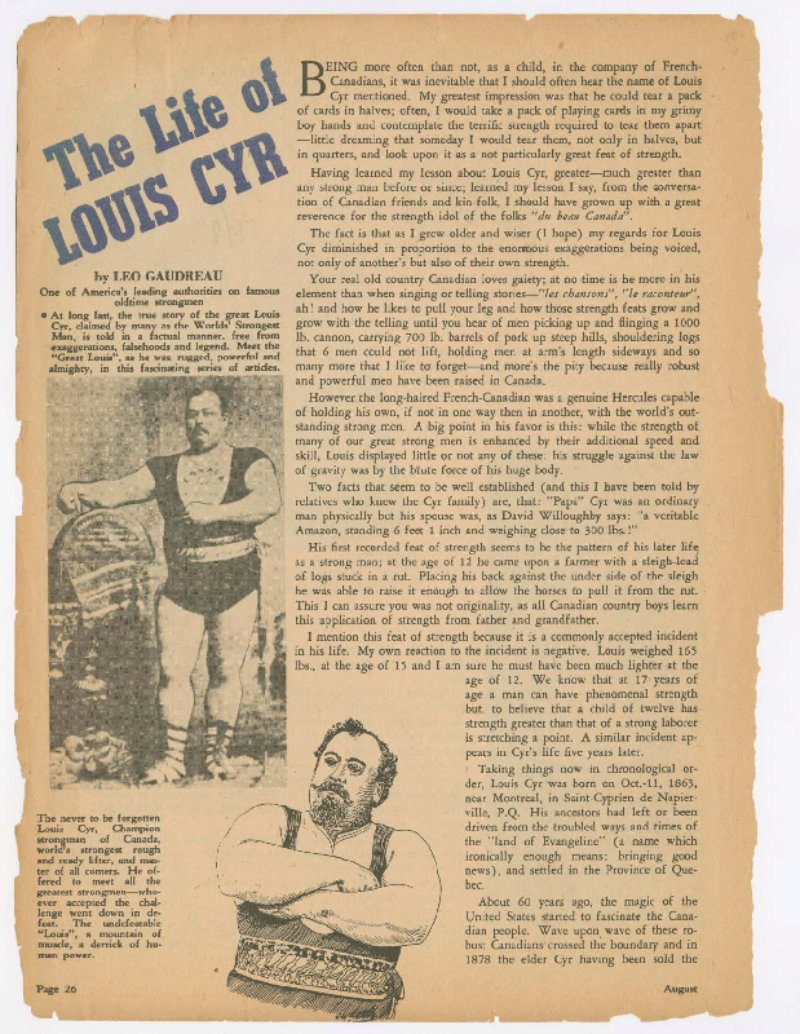 The Life of Louis Cyr Part I