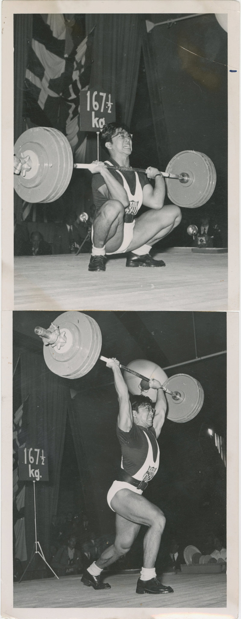 Photos of Tommy Kono clean and jerking 369 lbs