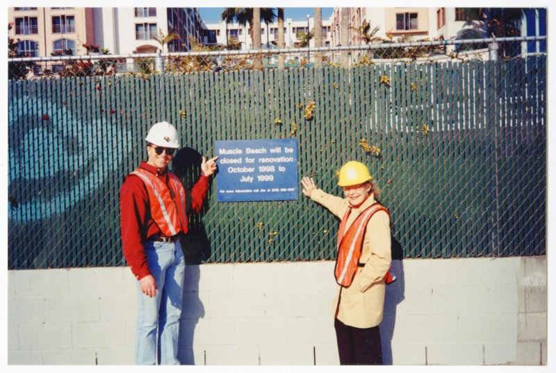 Steve Ford and Pudgy Stockton checking on progress at beach