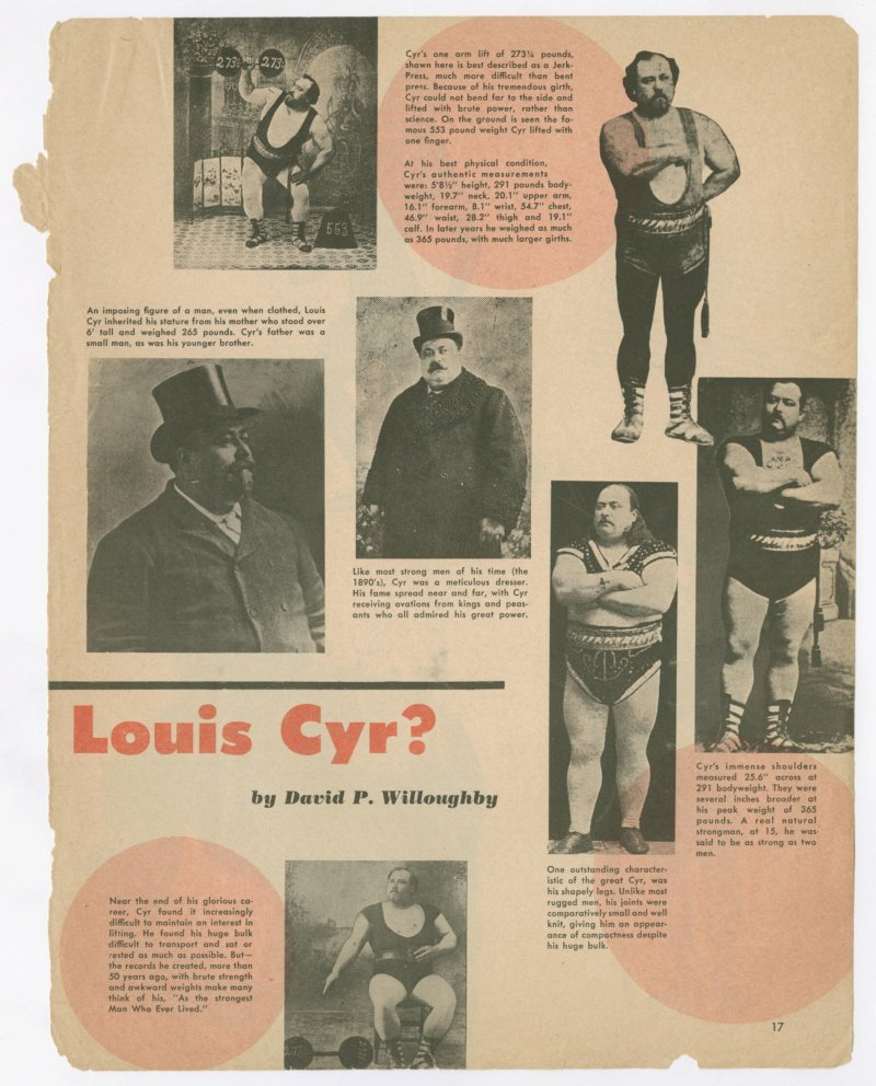 How Strong was Louis Cyr? Continued