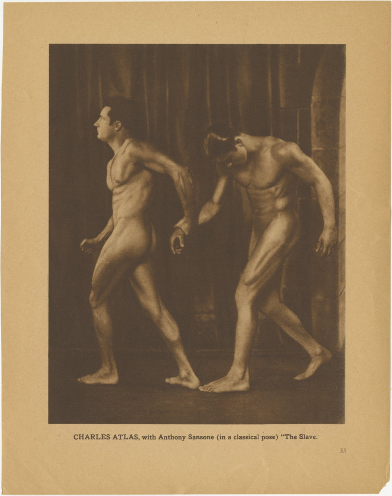Charles Atlas with Anthony Sansone in a classical pose The Slave