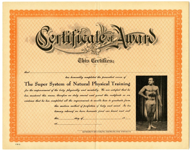 The Super System of Natural Physical Training completion certificate