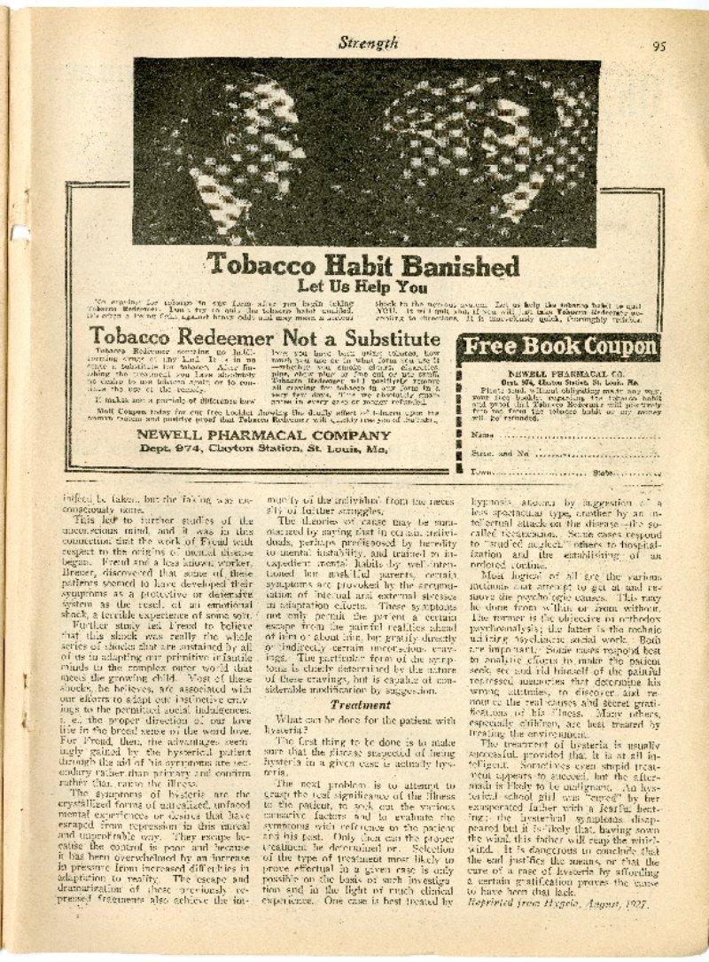 Tobacco Habit Banished; Oh, Boy, Some Arm!