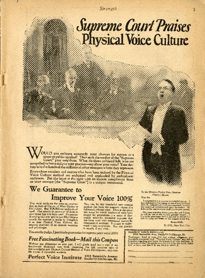 Supreme Court Praises Physical Voice Culture; Be An Auto Expert; Galiardo: Dy-nam-ic Breathing; etc.