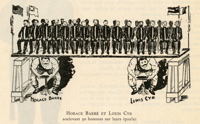 Horace Barre and Louis Cyr lifting 30 people on their shoulders