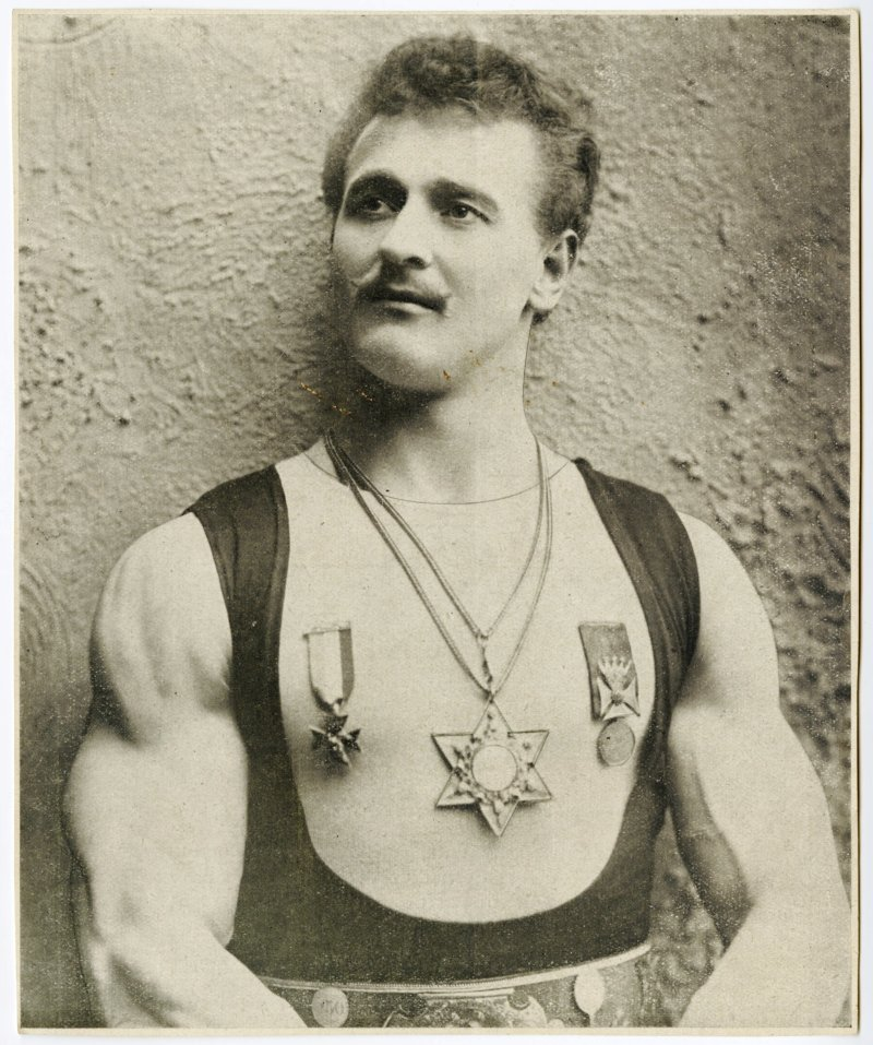 Sandow portrait with medals