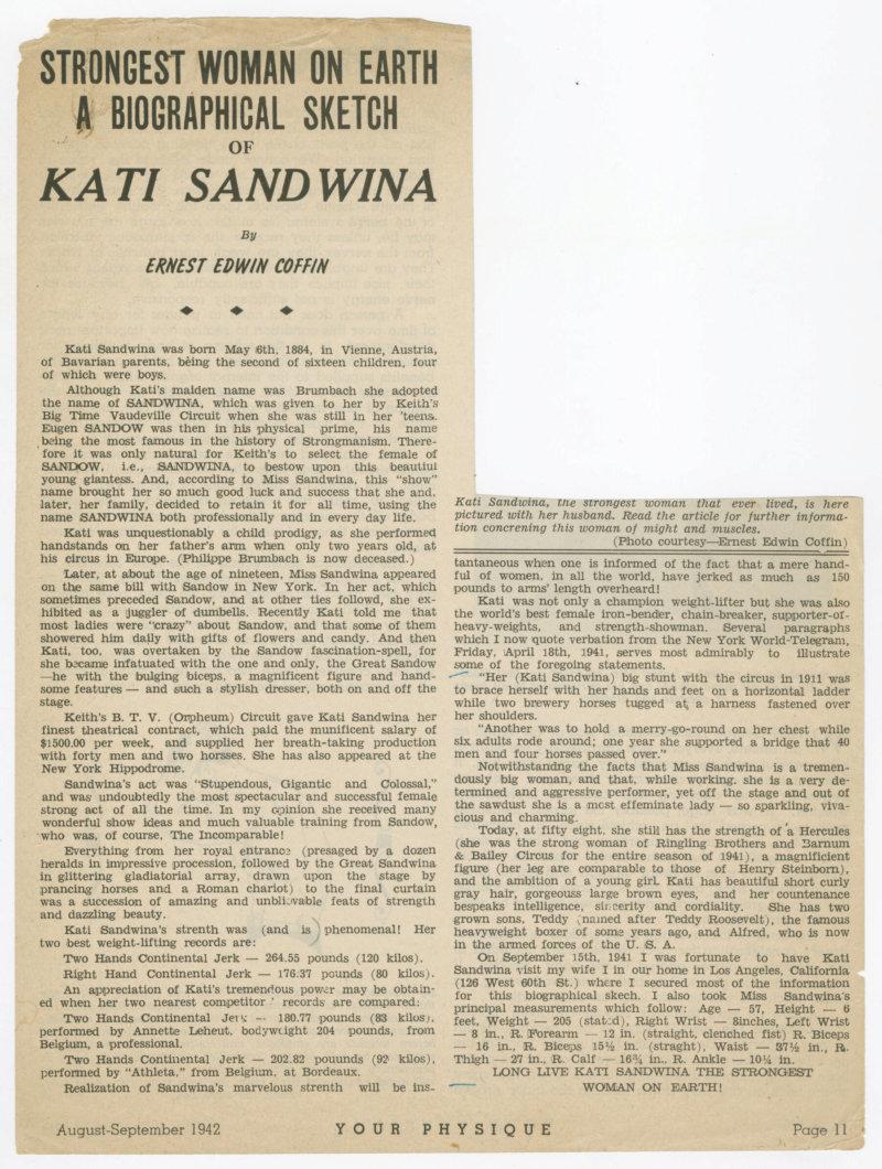 Strongest Woman on Earth - A Biographical Sketch of Kati Sandwina