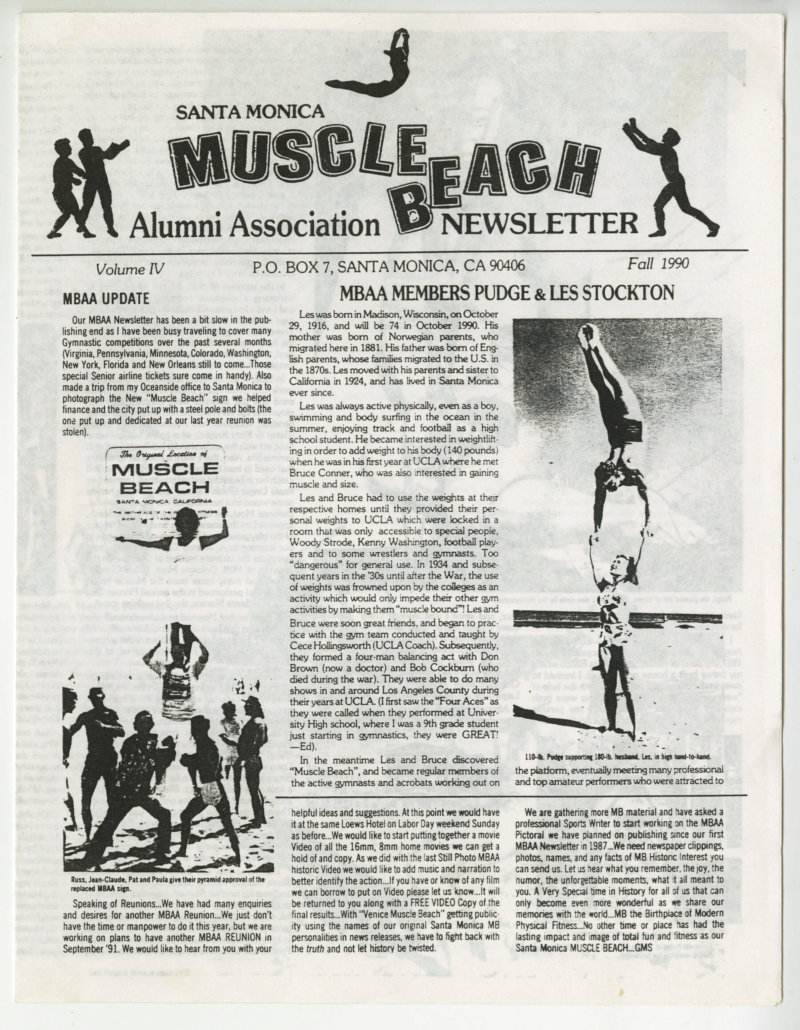 Santa Monica Muscle Beach Alumni Newsletter Pudgy and Les Feature