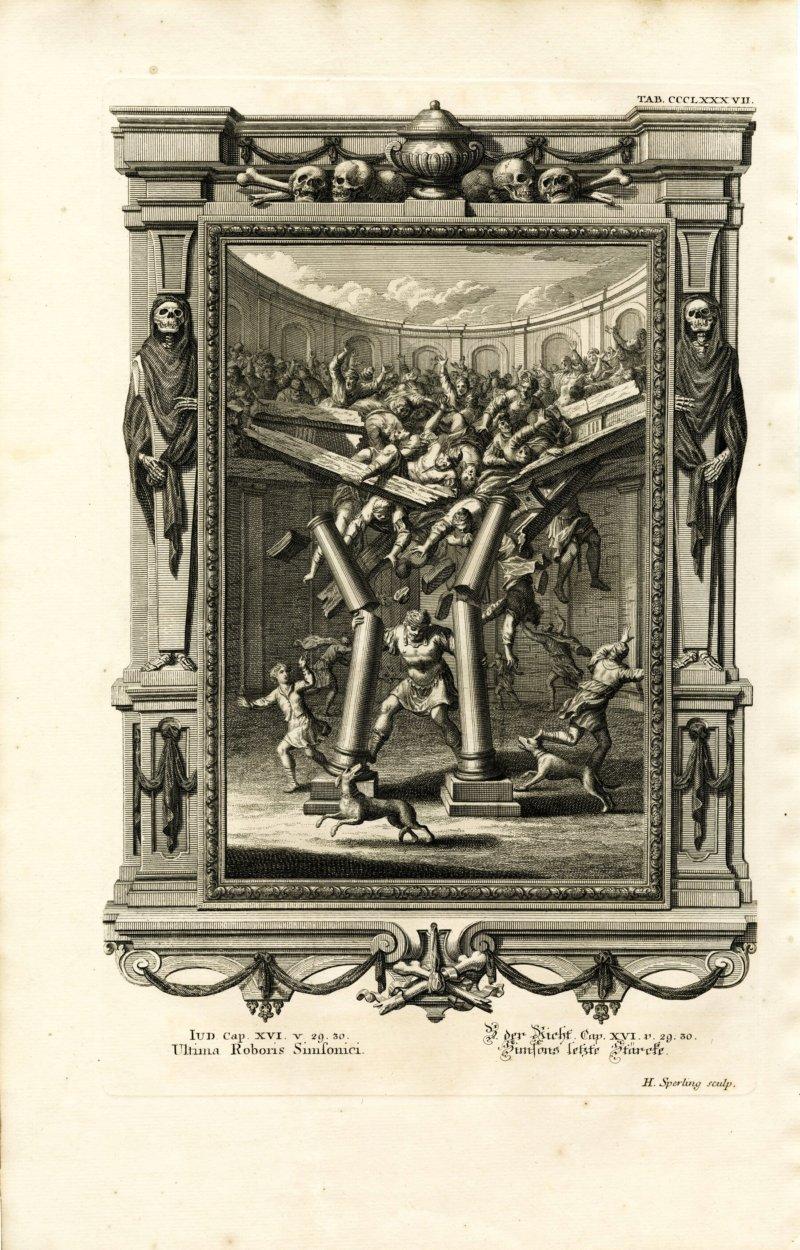 Samson toppling the pillars