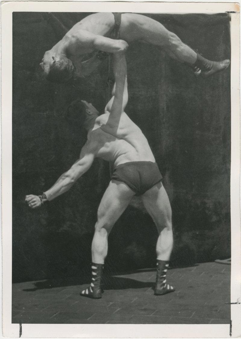 Photo of Siegmund Klein lifting another man
