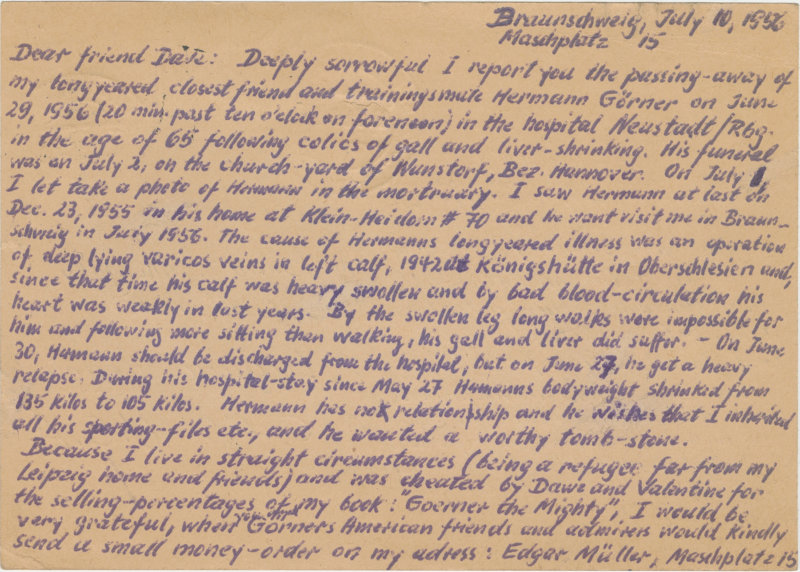Postcard sent to David Willoughby from Edgar Muller continued